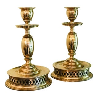 Vintage Skultuna Swedish Brass Candle Holders - a Pair For Sale