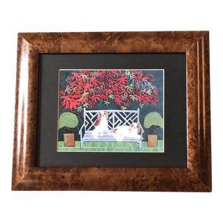 King Charles Spaniel Dog Print by Judy Henn Burled Wood Frame For Sale