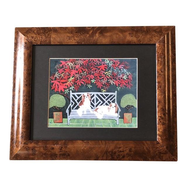 King Charles Spaniel Dog Print by Judy Henn Burled Wood Frame For Sale
