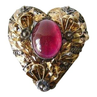 Hobé Sterling Silver With 14k Gold Overlay Heart Pendant/Brooch For Sale