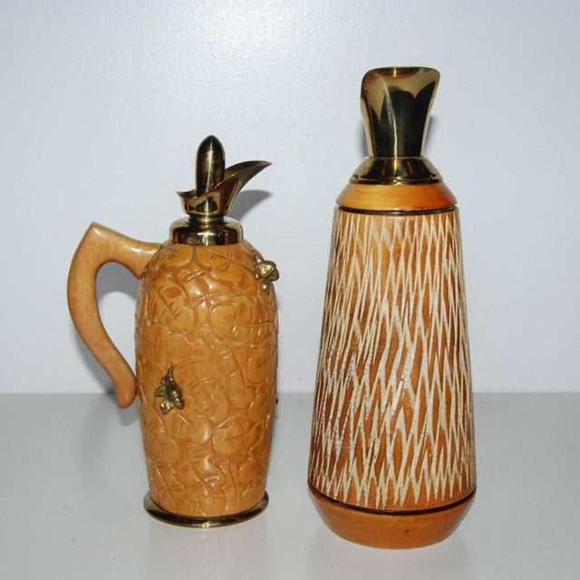 Mid-Century Modern Aldo Tura Wood & Brass Decanters - A Pair For Sale - Image 3 of 11