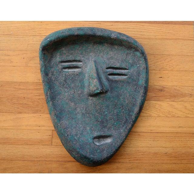 Vintage Modernist Green Ceramic Tiki Face Sculpture For Sale - Image 13 of 13