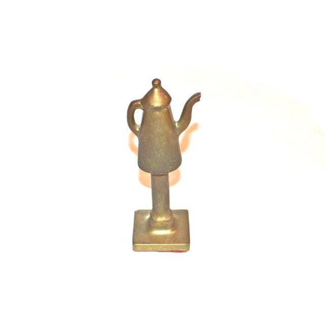 Boho Chic 1940s Boho Chic Bronze Coffee Pot Paperweight For Sale - Image 3 of 7