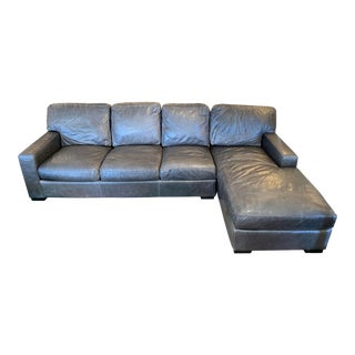 American Leather Danford Two Piece Leather Sectional For Sale