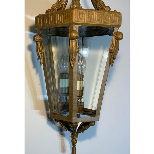 Vintage Six Sided Indoor Hanging Lantern Chandelier For Sale - Image 11 of 13