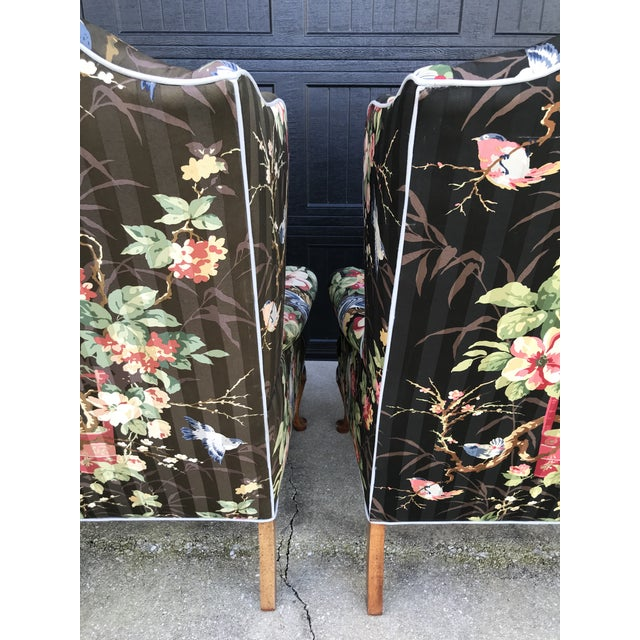 Chinoiserie Upholstered Wing Bach Chairs For Sale - Image 4 of 13