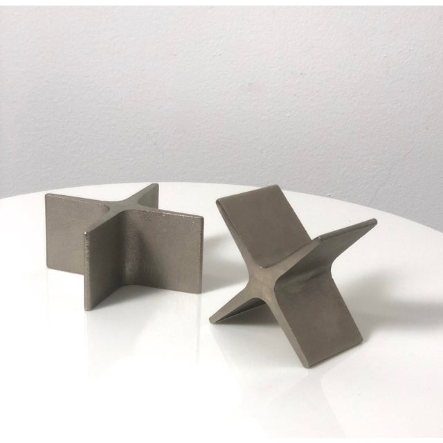 Gray 1970s Vintage Carl Aubock X Bookends- A Pair For Sale - Image 8 of 9