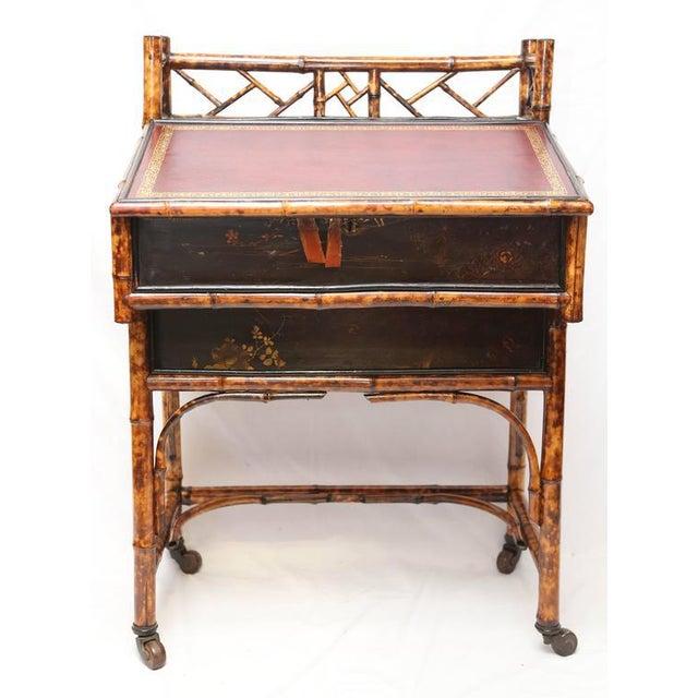 Boho Chic 1900s Boho Chic Bamboo Davenport Desk For Sale - Image 3 of 8