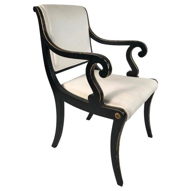 Regency Style Ebonized and Parcel Gilt Armchair For Sale - Image 12 of 12