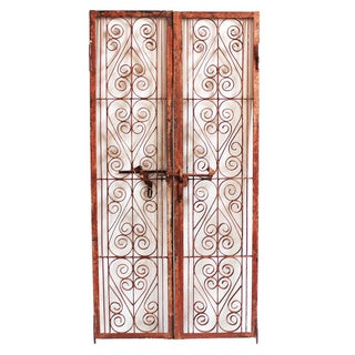 Vintage Indian Iron Scroll Gate For Sale