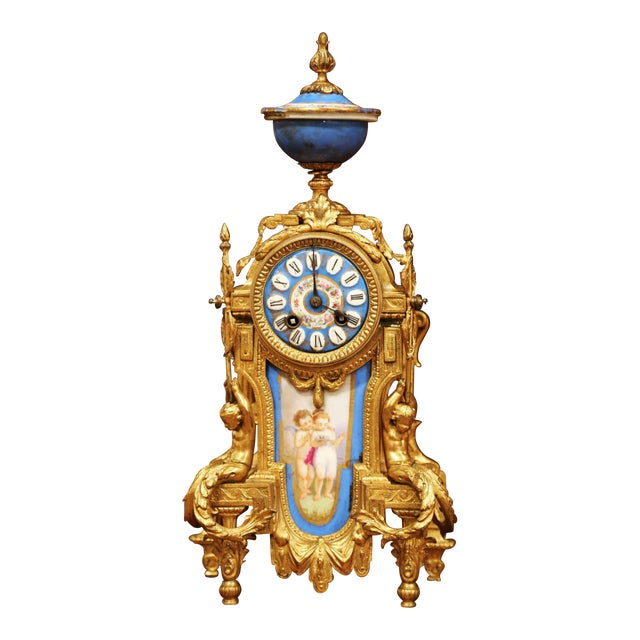 19th Century French Louis XVI Gilt Metal and Porcelain Mantel Clock For Sale