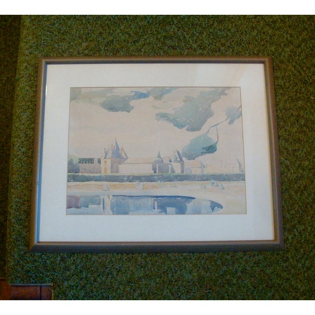 French Château Watercolor Landscape Painting For Sale In Richmond - Image 6 of 6