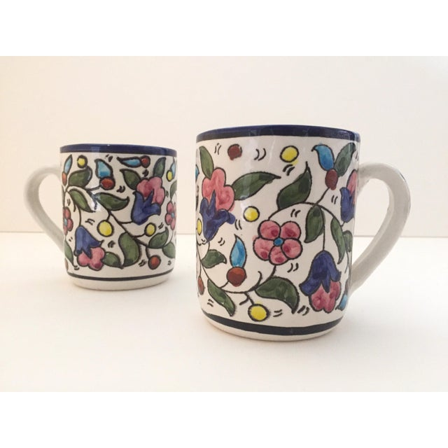 Boho Chic Vintage Jerusalem Pottery Armenian Floral Ceramic Hand Painted Mugs - a Pair For Sale - Image 3 of 9