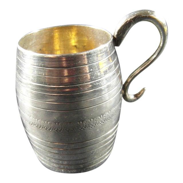 Italian Silver Barrel Shaped Liquor Cup For Sale
