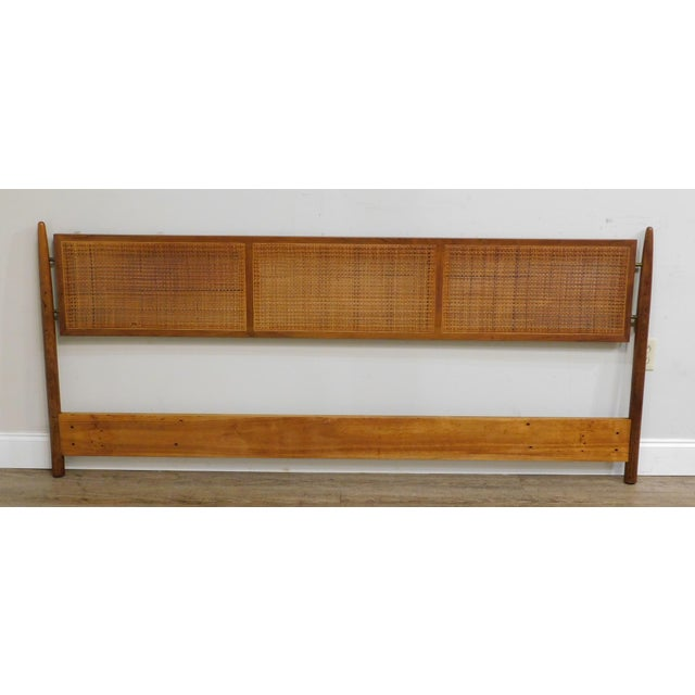 High Quality Solid Teak Wood Frame Headboard with Caned Panels Unsigned Maker Possibly Hans Wegner Store Item#: 25563
