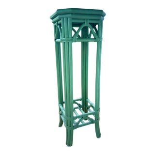 Moss Green Bamboo Rattan Plant Stand For Sale