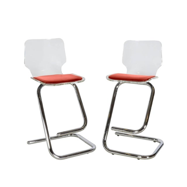 1970s Modern Lucite Bar Stools - a Pair For Sale - Image 10 of 10