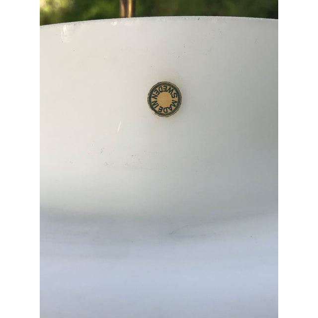 Laurel Studios Vintage Mid Century Modern Swedish White Glass Globe Light Chandelier For Sale - Image 4 of 8