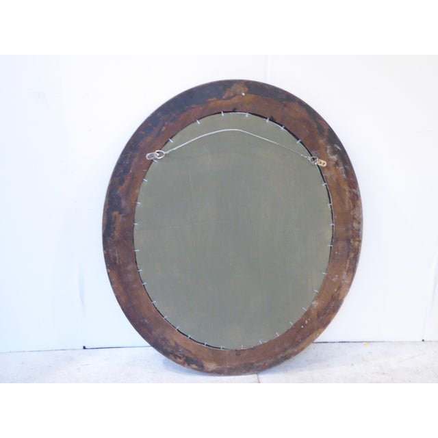 Modern Vintage Grayed Weathered Oak Oval Mirror For Sale - Image 3 of 4