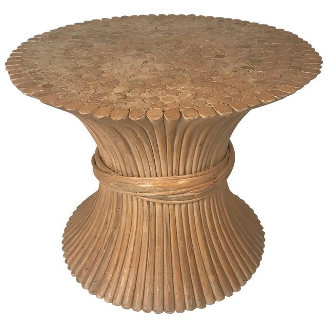 John and Elinor McGuire Round Bamboo Coffee or Centre Table For Sale