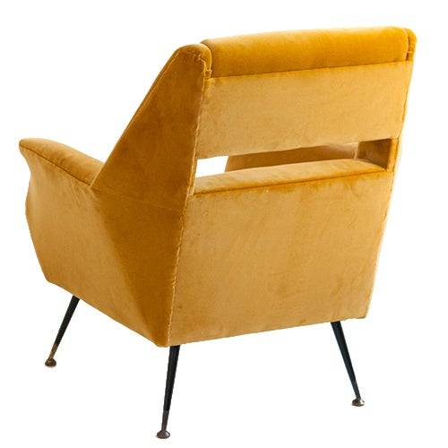 A cheerful and sculptural chair designed by Gigi Radice in the mid 1950s. Each chair is newly upholstered in a sunny...