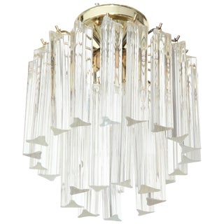 1970s Two-Tier Triedi Crystal Flushmount by Camer For Sale