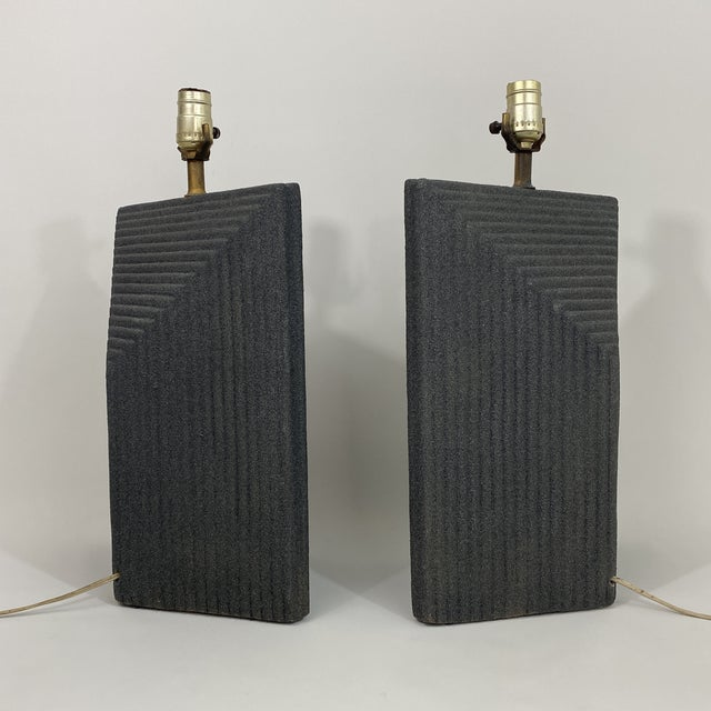 1980s 1980s Grey Postmodern Stepped Ceramic Lamp Pair For Sale - Image 5 of 13