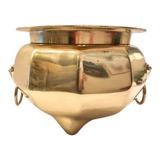 Heavy Solid Brass Cachepot With Handles For Sale