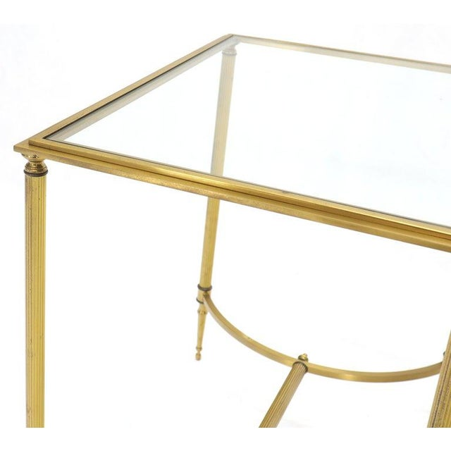 Mid-Century Modern Pair of Solid Brass Glass Tops Stretcher Janson Style End Occasional Tables For Sale - Image 3 of 13