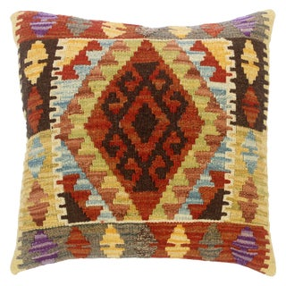 """Clemmie Rust/Gold Hand-Woven Kilim Throw Pillow(18""""x18"""") For Sale"""