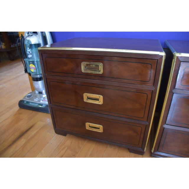 Baker Mid Century Hollywood Regency Walnut & Brass Campaign Bachelors Chests - a Pair - Image 3 of 8