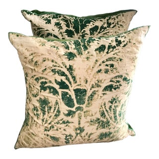 "22"" Olive Green and Cream Velvet Pillows - a Pair For Sale"