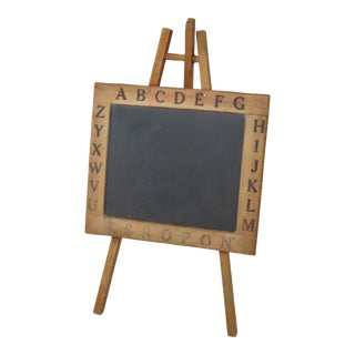 Antique Child's Wood & Slate Stone Alphabet Chalkboard Easel For Sale