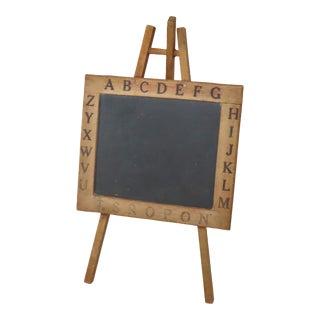 Antique Child's Wood & Slate Stone Alphabet Chalkboard Easel For Sale