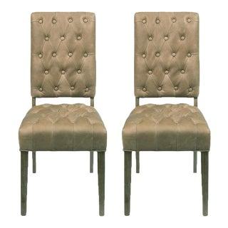 Sarreid Ltd Brady Tan Leather Side Chairs - A Pair For Sale
