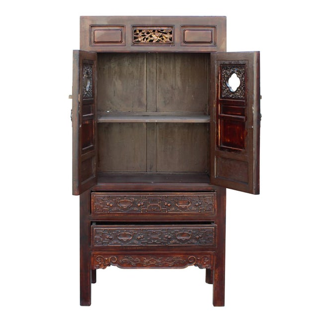 Chinese Fujian Brown Golden Carving Graphic Armoire Storage Cabinet For Sale In San Francisco - Image 6 of 7