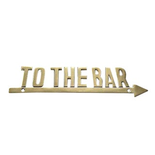 """To the Bar"" Brass Arrow Sign"