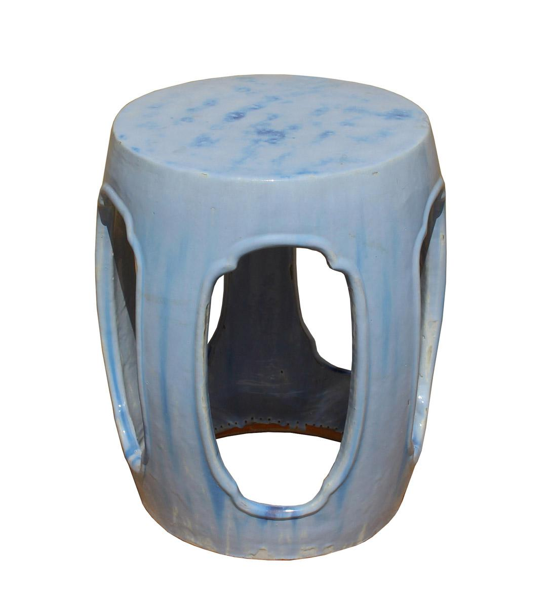 Chinese Round Barrel Light Blue Ceramic Clay Garden Stool   Image 3 Of 7