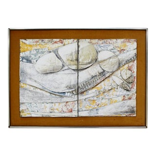 Mid-Century Modern Abstract Framed Acrylic Impasto Painting Signed L. Biro For Sale