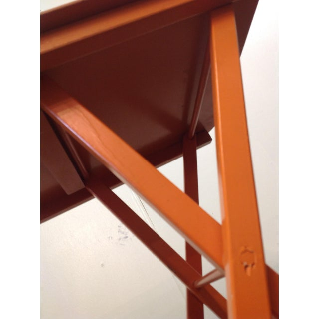 Orange Mid Century Collapsible Side Tables - Pair - Image 4 of 11