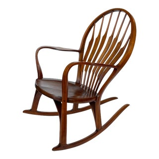 Studio Craft Walnut Rocking Chair by Steven Foley, Circa 1978 For Sale