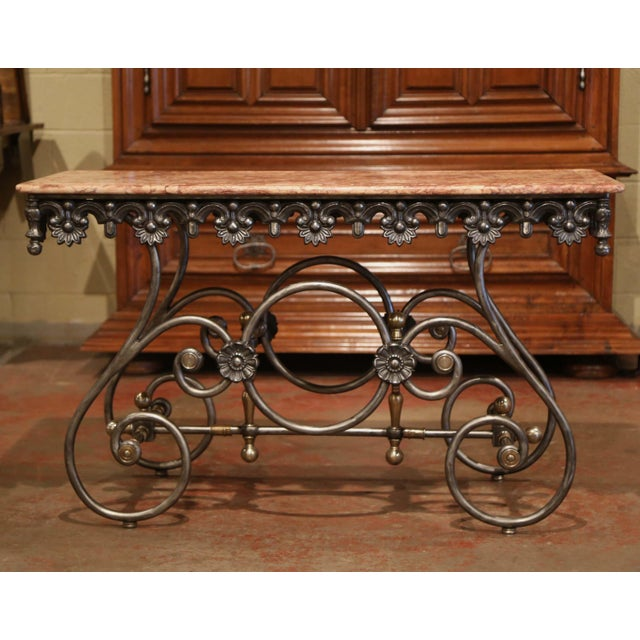 Late 20th Century French Polished Iron Pastry Table With Red Marble Top For Sale In Dallas - Image 6 of 11