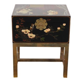 Vintage Maitland Smith Hand Decorated Chinoiserie Chest on Brass Stand For Sale