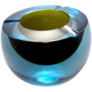 Vintage Mid-Century Modern Murano Cased Glass Ashtray For Sale