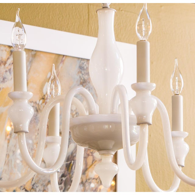 Mid-Century Modern White Glass Murano Chandelier For Sale - Image 3 of 6