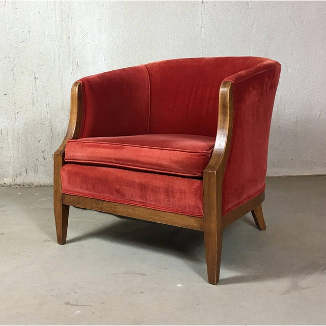 Vintage Mid-Century Red Velvet Tub Chair For Sale - Image 11 of 11