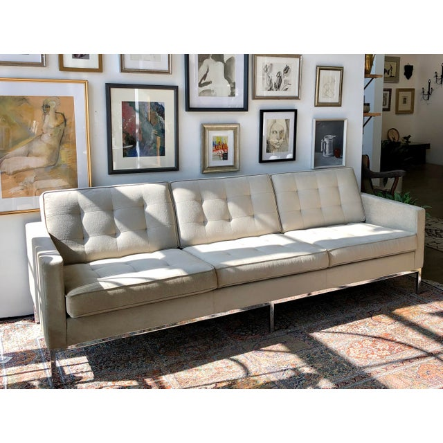 Mid Century Modern Florence Knoll three seater relaxed sofa, upholstered in Knoll Boucle neutral. An authentic Knoll...