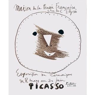 """PABLO PICASSO Maison de la Pensee Francaise 25.5"""" x 18.75"""" Lithograph 1958 Cubism Brown, Black & White Geometry, Face, S For Sale"""