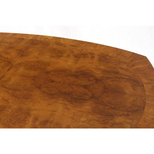 Burlwood Oval Boat Shape Banded Burl Wood Dining Table With 2 Leaves Extensions For Sale - Image 7 of 12