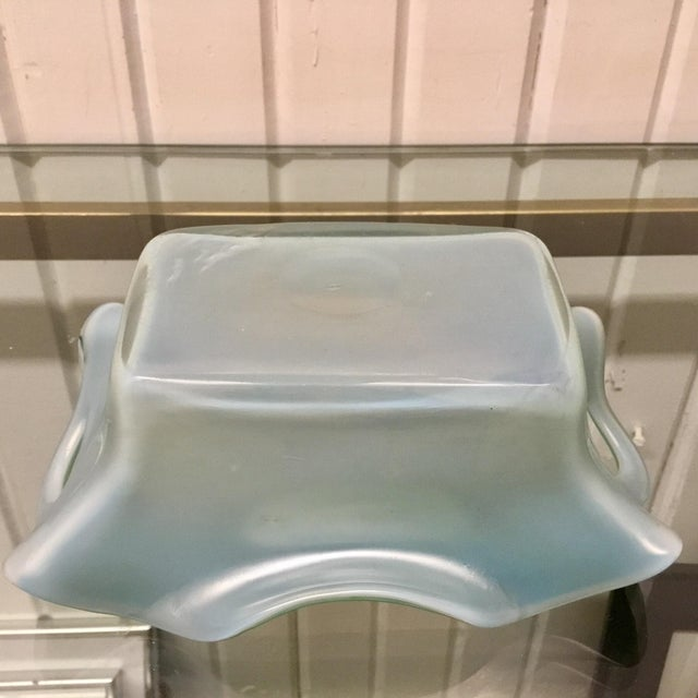 1920s Kralik Blue Iridescent Pierced Art Glass Vase For Sale - Image 5 of 7